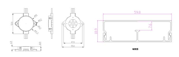 40mm全彩六灯点光源 led跑马灯 led像素点